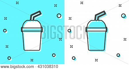 Black Line Paper Glass With Drinking Straw And Water Icon Isolated On Green And White Background. So
