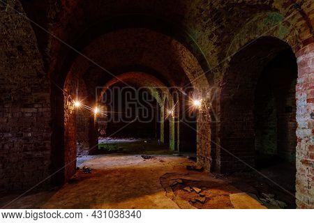 Vaulted Red Brick Dungeon Under Old Castle