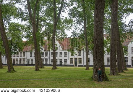 Brugge, Flanders, Belgium - August 4, 2021: Green Park Courtyard With Tall Trees And White Housing A