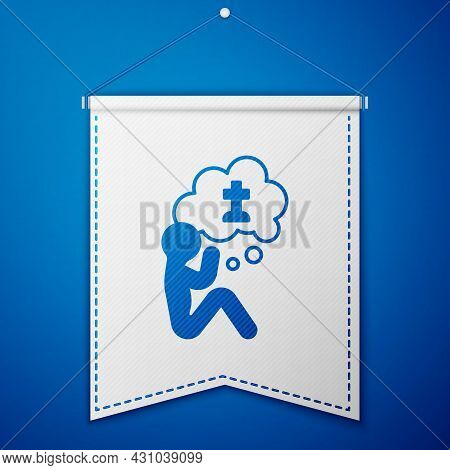 Blue Man Graves Funeral Sorrow Icon Isolated On Blue Background. The Emotion Of Grief, Sadness, Sorr