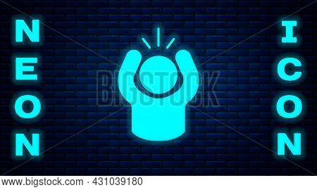 Glowing Neon Anger Icon Isolated On Brick Wall Background. Anger, Rage, Screaming Concept. Vector