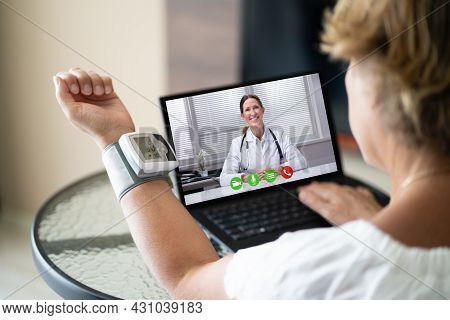 Telehealth Patient Making Hypertension Blood Medicine Test