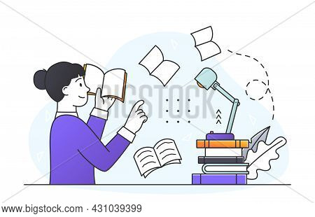 Books Message Concept. Literature Meaning And Author Moral Idea. Smart Woman Reads Literary Work And