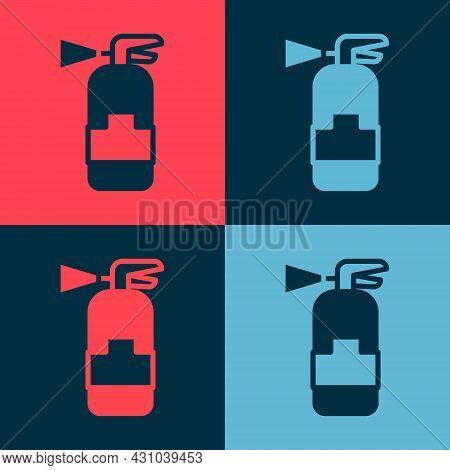 Pop Art Fire Extinguisher Icon Isolated On Color Background. Vector