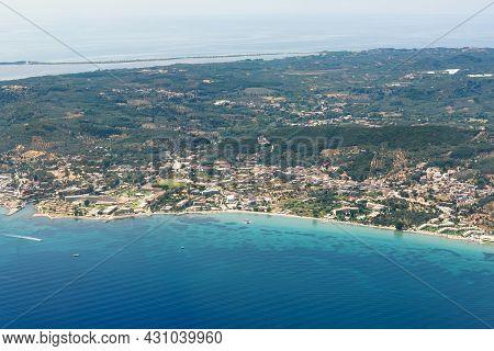 Aerial View Of Greek Corfu Island, Popular Summer Tourist Destination In Europe