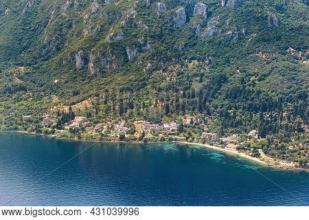 Aerial View Of Local Villages On Corfu Island, Popular Summer Tourist Destination In Europe