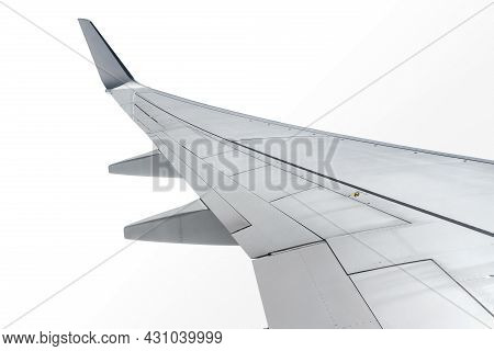 Airplane Wing Isolated On White Background With Clipping Path