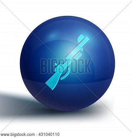 Blue Hunting Gun Icon Isolated On White Background. Hunting Shotgun. Blue Circle Button. Vector