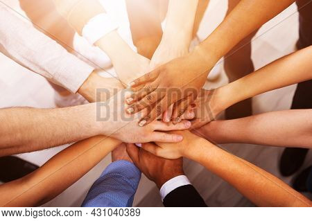 Professional Business Team Huddle And Hands. Diverse Group Management