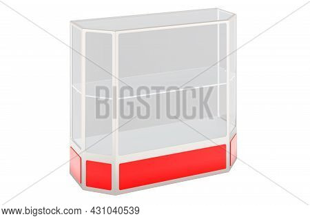 Glass Display Counter, Display Showcase, 3d Rendering Isolated On White Background