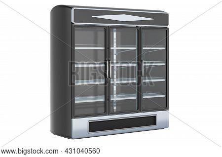 Combination Refrigerator Freezer Merchandiser. Three Section Glass Door Dual Temperature Merchandise