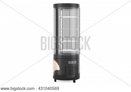 Circular Glass Refrigerated Display Case, 3d Rendering Isolated On White Background