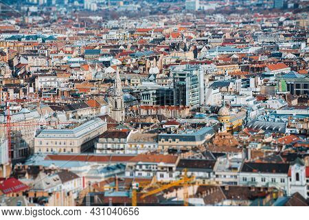 Elevated View Of Budapest Cityscape With Tilt And Shift Effect. Hungary