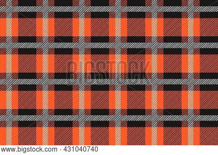 Orange And Black Scotland Textile Seamless Pattern. Fabric Texture Check Tartan Plaid. Abstract Geom