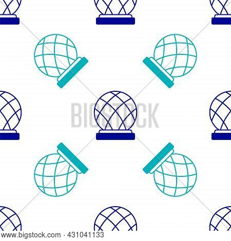 Blue Montreal Biosphere Icon Isolated Seamless Pattern On White Background. Vector