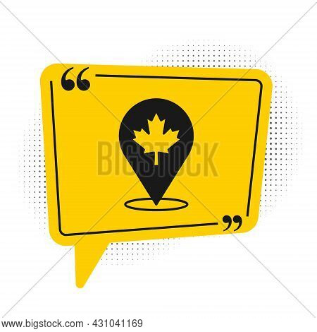 Black Canadian Maple Leaf Icon Isolated On White Background. Canada Symbol Maple Leaf. Yellow Speech