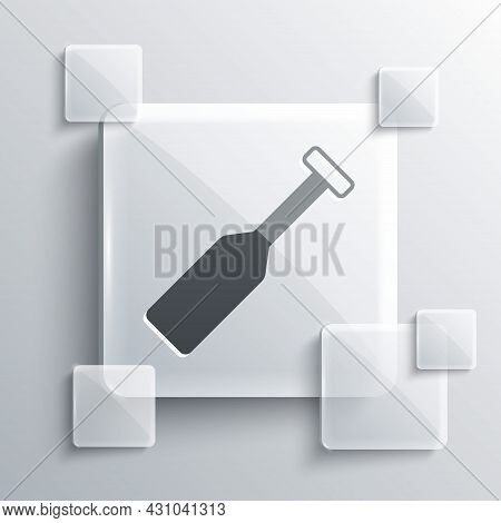 Grey Paddle Icon Isolated On Grey Background. Paddle Boat Oars. Square Glass Panels. Vector