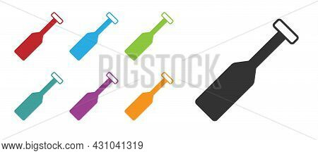 Black Paddle Icon Isolated On White Background. Paddle Boat Oars. Set Icons Colorful. Vector