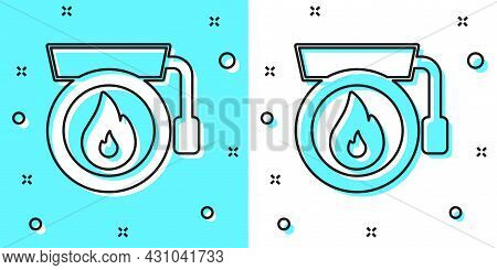 Black Line Ringing Alarm Bell Icon Isolated On Green And White Background. Fire Alarm System. Servic