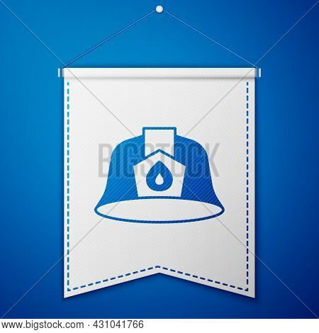 Blue Firefighter Helmet Or Fireman Hat Icon Isolated On Blue Background. White Pennant Template. Vec