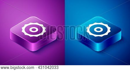 Isometric Circular Saw Blade Icon Isolated On Blue And Purple Background. Saw Wheel. Square Button.