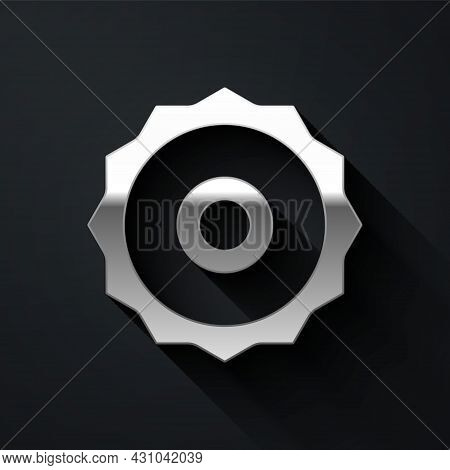 Silver Circular Saw Blade Icon Isolated On Black Background. Saw Wheel. Long Shadow Style. Vector