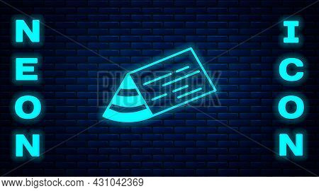 Glowing Neon Wooden Beam Icon Isolated On Brick Wall Background. Lumber Beam Plank. Vector