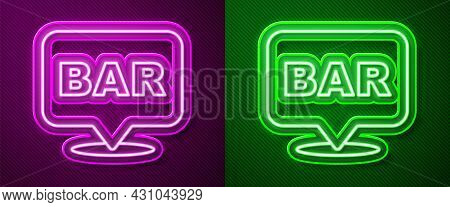 Glowing Neon Line Alcohol Or Beer Bar Location Icon Isolated On Purple And Green Background. Symbol