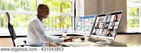 Telecommuting On Desktop Office Computer. Video Telework Banner