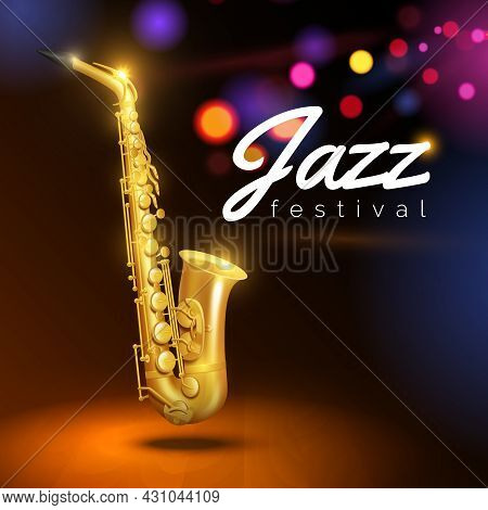 Golden Saxophone On Black Background With Colored Lights And Caption Jazz Festival  Vector Illustrat