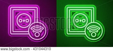 Glowing Neon Line Smart Electrical Outlet System Icon Isolated On Purple And Green Background. Power