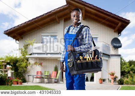 African American Handyman With Repair Box Or Toolbox
