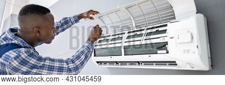 Ac Electrician Technician Repairing Air Conditioner Appliance