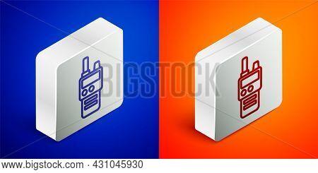 Isometric Line Walkie Talkie Icon Isolated On Blue And Orange Background. Portable Radio Transmitter