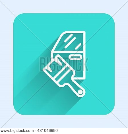 White Line Car Painting Icon Isolated With Long Shadow Background. Car Body Repair Process. Green Sq