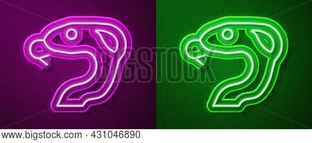 Glowing Neon Line Snake Icon Isolated On Purple And Green Background. Vector