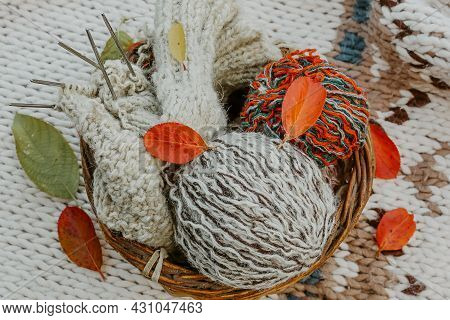 Autumn Knitting Of Warm Clothes. Woolen Balls Of Knitting Needles. Self-made Things With Love. Idea