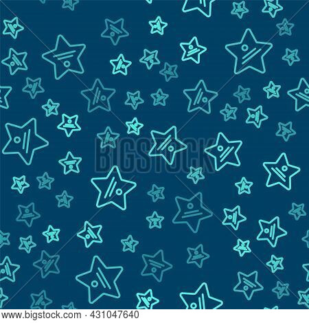 Green Line Walk Of Fame Star On Celebrity Boulevard Icon Isolated Seamless Pattern On Blue Backgroun