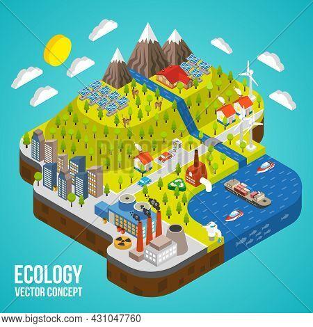Eco Friendly Green Energy Concept Solar Energy Town Wind Energy Electricity Vehicle Vector Illustrat