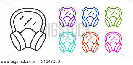 Black Line Gas Mask Icon Isolated On White Background. Respirator Sign. Set Icons Colorful. Vector