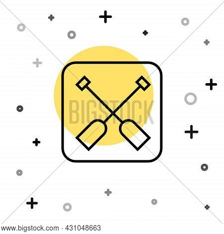 Black Line Paddle Icon Isolated On White Background. Paddle Boat Oars. Random Dynamic Shapes. Vector