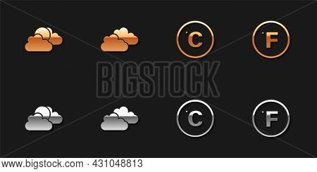Set Sun And Cloud Weather, Cloud, Celsius And Fahrenheit Icon. Vector