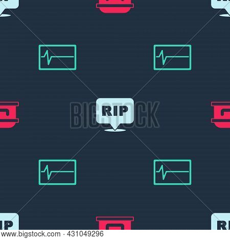 Set Coffin With Cross, Speech Bubble Rip Death And Beat Dead Monitor On Seamless Pattern. Vector