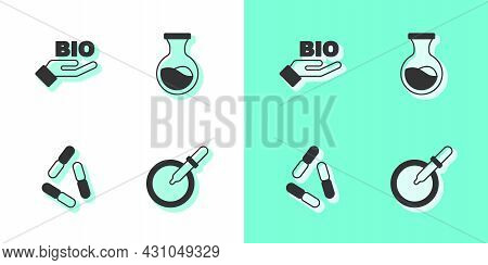 Set Petri Dish With Pipette, Bio Healthy Food, Virus And Test Tube And Flask Icon. Vector