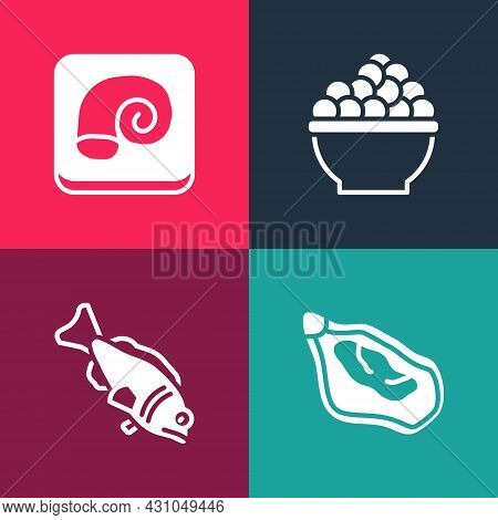 Set Pop Art Mussel, Fish, Caviar And Octopus On Plate Icon. Vector