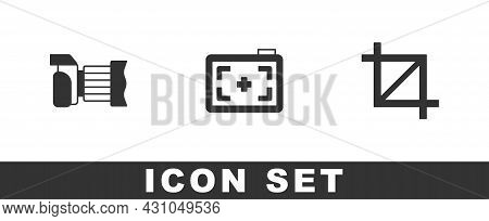 Set Photo Camera, And Picture Crop Photo Icon. Vector