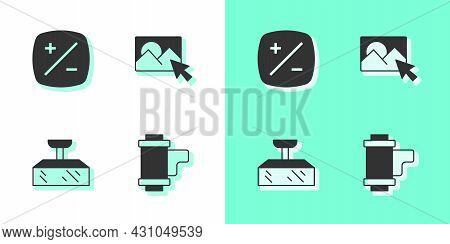 Set Camera Roll Cartridge, Exposure Compensation, Softbox Light And Photo Retouching Icon. Vector