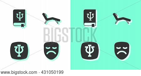 Set Drama Theatrical Mask, Psychology Book, Psi, Psychology, And Armchair Icon. Vector