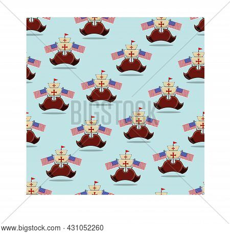 Happy Columbus Day America With Hat And Flags Pattern Background, Celebration Holiday Poster, Vector