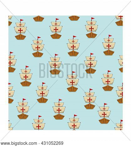 Happy Columbus Day America With Ship Design Pattern Background, Celebration Holiday Poster, Vector A